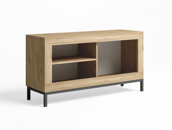 Mueble tv con patas y 1 puerta color naturale-grafito  merkamueble