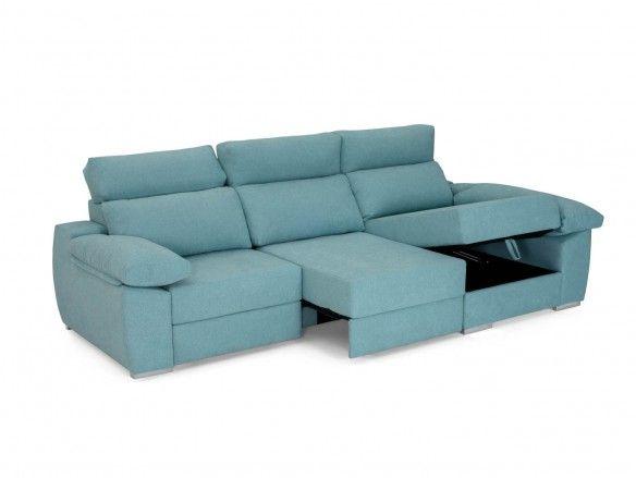 Chaise longue con asientos deslizantes tapizado azul  merkamueble