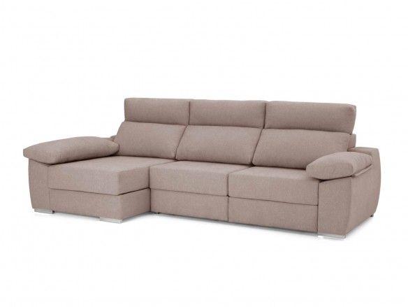 Chaise longue con asientos deslizantes tapizado beige  merkamueble