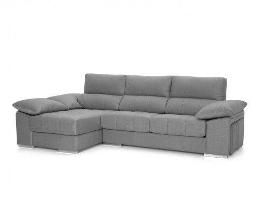 Chaise longue con asientos deslizantes tapizado gris claro  merkamueble