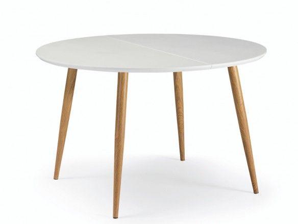 Mesa de comedor redonda extensible metálica y tapa madera color blanco-roble  merkamueble