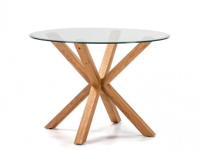 Mesa de comedor redonda fija madera y tapa cristal transparente color roble  merkamueble