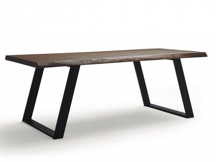 Mesa de comedor rectangular fija metálica y tapa madera color negro-habana  merkamueble