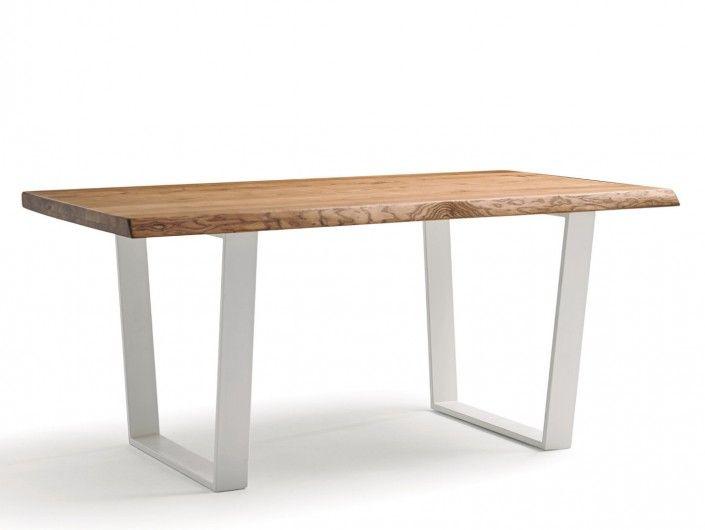 Mesa de comedor rectangular fija metálica y tapa madera color blanco-caramel  merkamueble