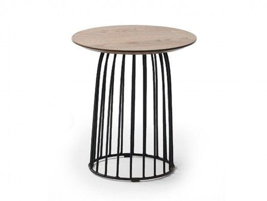 Mesa auxiliar redonda patas metal y tapa madera  merkamueble