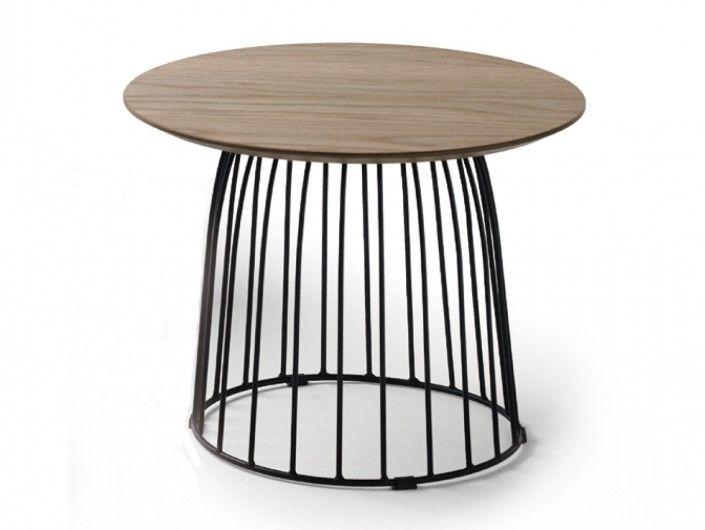 Mesa de centro redonda patas metal y tapa madera  merkamueble