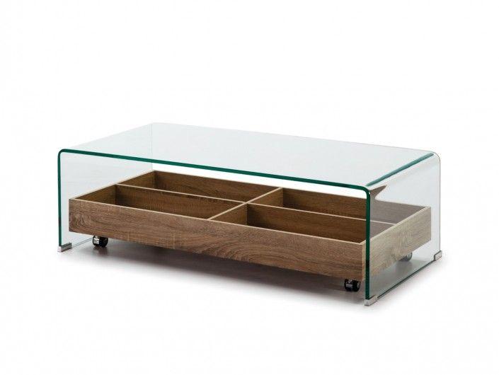 Mesa de centro rectangular cristal y estante con ruedas  merkamueble