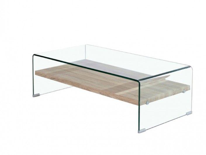 Mesa de centro rectangular cristal con estante  merkamueble