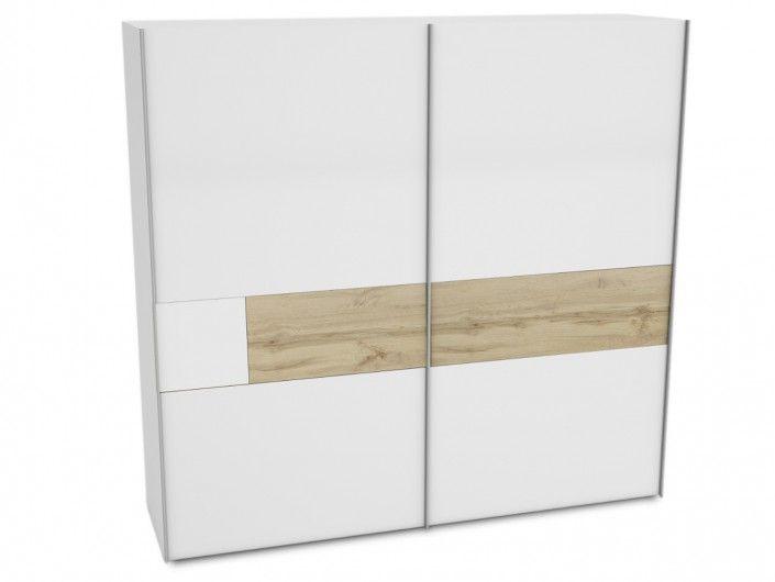 Armario 2 puertas correderas color blanco y roble  merkamueble