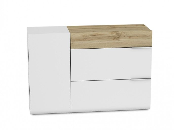 Cómoda 3 cajones y puerta color blanco-roble  merkamueble