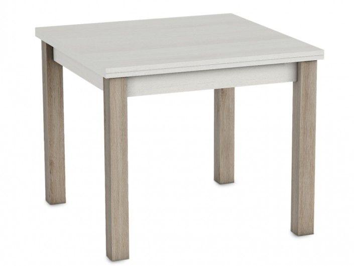 Mesa de comedor cuadrada extensible color polar-roble natural  merkamueble