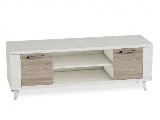 Mueble tv con patas y 2 puertas color polar-roble natural  merkamueble