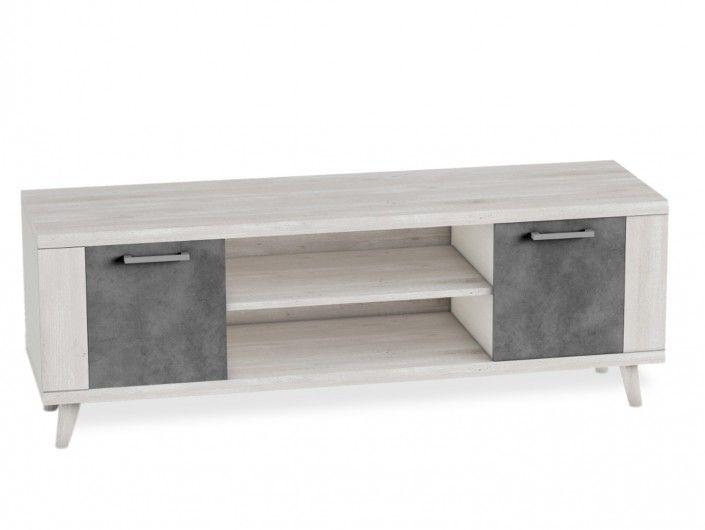 Mueble tv 2 puertas con patas color azahar-cemento  merkamueble