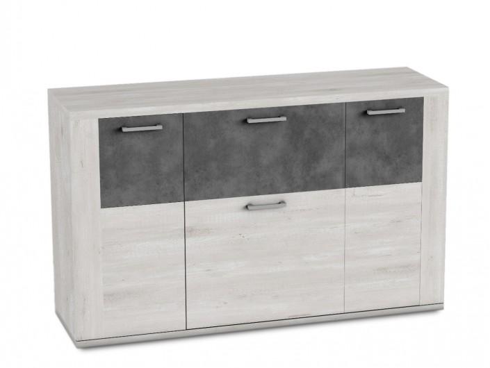Aparador 3 puertas y 1 contenedor color azahar-cemento  merkamueble