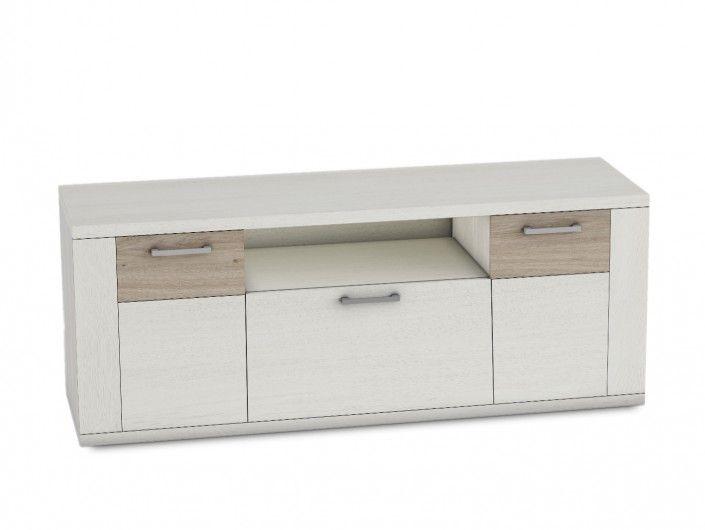 Mueble tv 2 puertas y 1 contenedor de color polar-roble natural  merkamueble