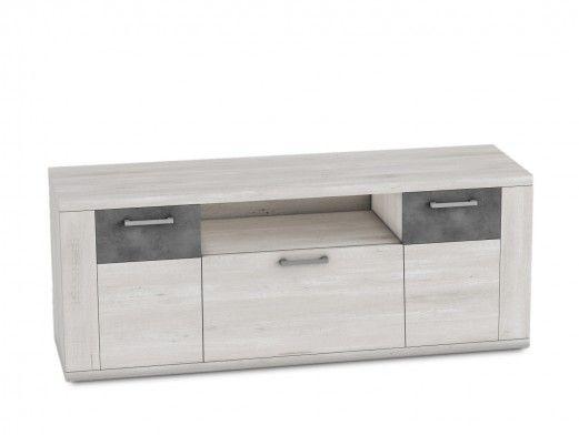Mueble tv 2 puertas y 1 contenedor de color azahar-cemento  merkamueble