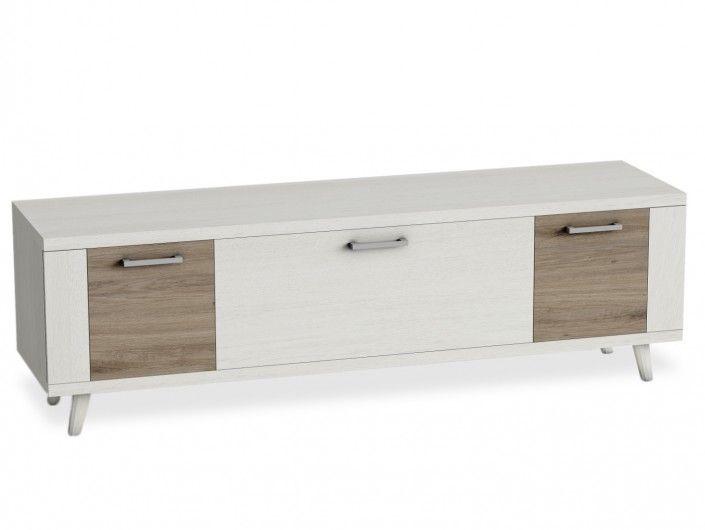 Mueble tv con patas, 1 contenedor y 2 puertas color polar-roble natural  merkamueble
