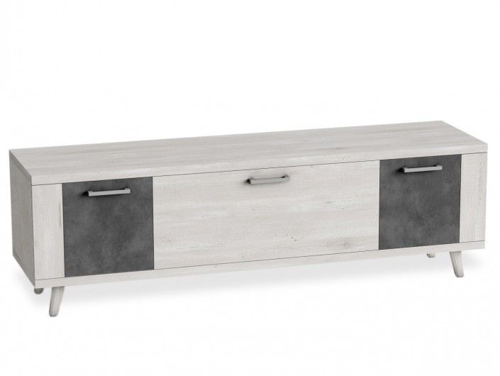 Mueble tv con patas, 1 contenedor y 2 puertas color azahar-cemento  merkamueble