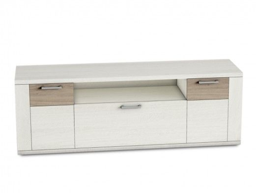 Mueble tv 2 puertas y 1 cajón color polar-roble natural  merkamueble