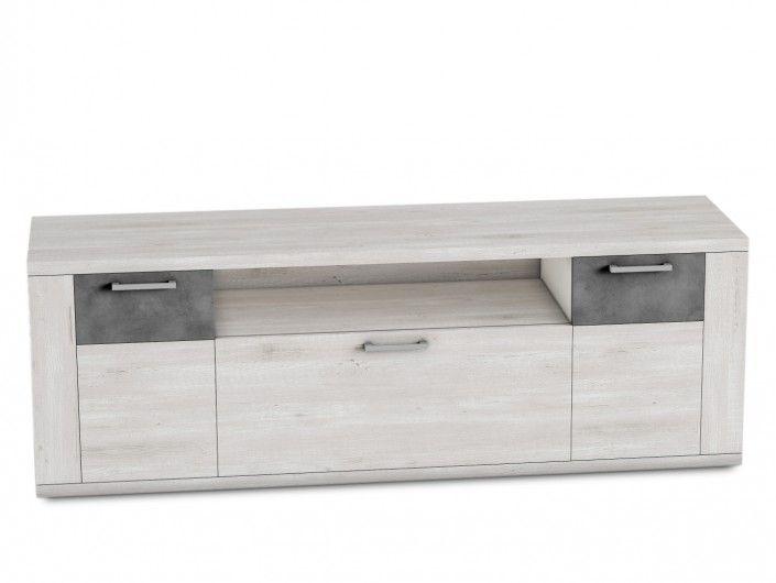Mueble tv 2 puertas y 1 cajón color azahar-cemento  merkamueble