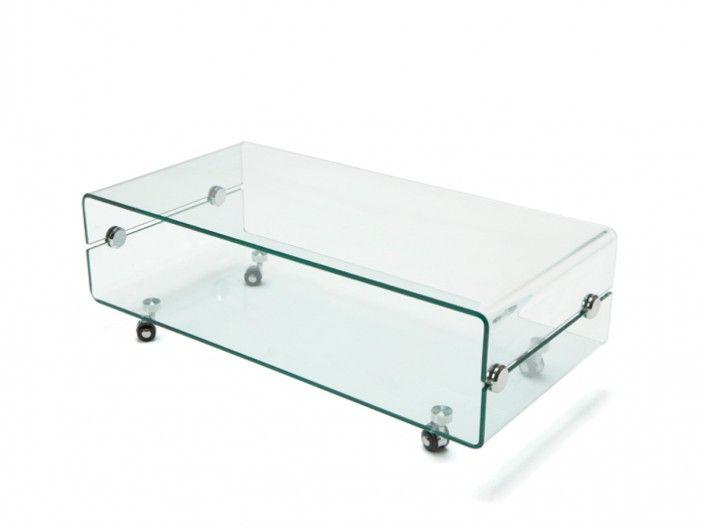 Mesa de centro rectangular cristal con ruedas  merkamueble