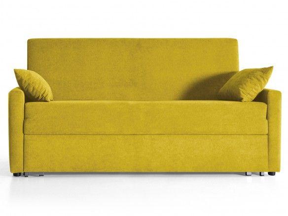 Sofá cama sistema de apertura extensible tapizado amarillo  merkamueble