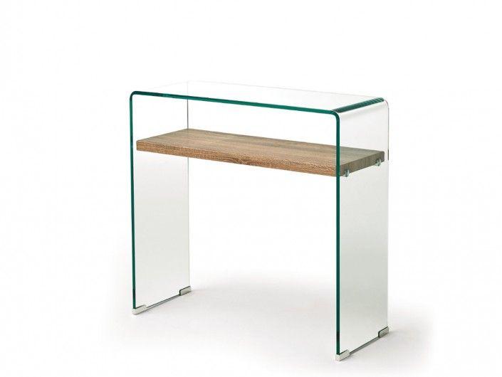 Consola de cristal con estante madera  merkamueble