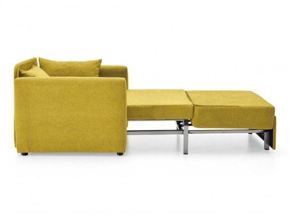 Sillón cama sistema de apertura extensible tapizado amarillo  merkamueble