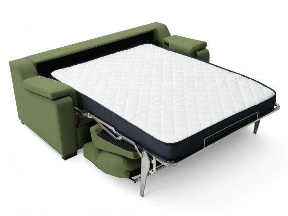 Sofá cama sistema de apertura italiano tapizado verde  merkamueble