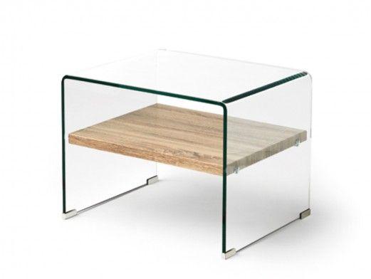 Mesa auxiliar de cristal y estante madera  merkamueble