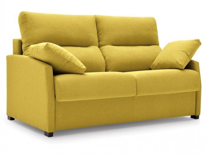 Sofá cama sistema de apertura italiano tapizado amarillo  merkamueble