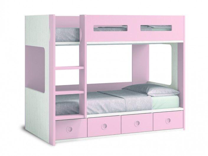 Litera con 4 cajones color ártico-rosa  merkamueble