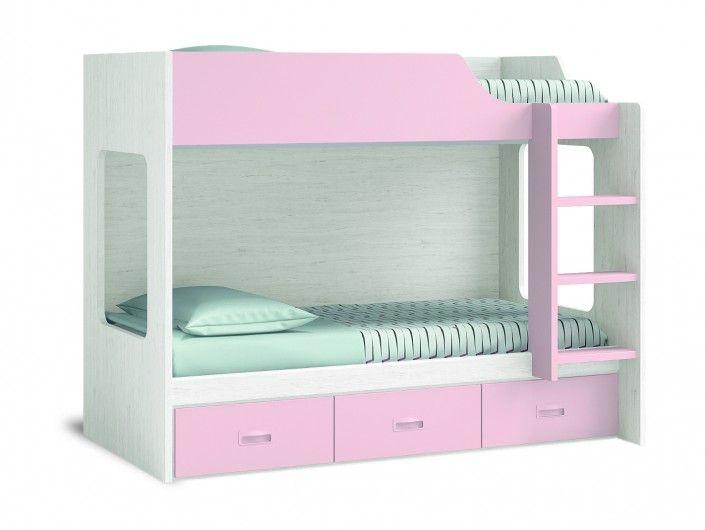 Litera con 3 cajones color ártico-rosa  merkamueble