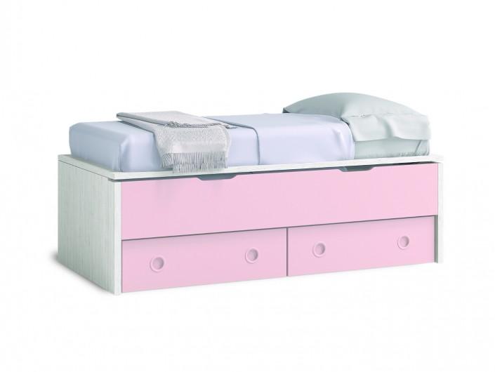 Compacto 2 camas y 2 cajones color ártico-rosa  merkamueble