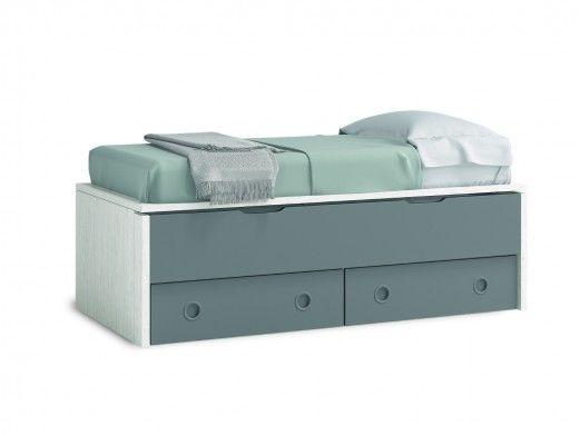 Compacto 2 camas y 2 cajones color ártico-pizarra  merkamueble