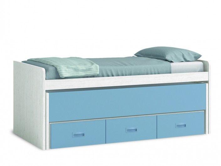 Compacto 2 camas y 3 cajones color ártico-cobalto  merkamueble