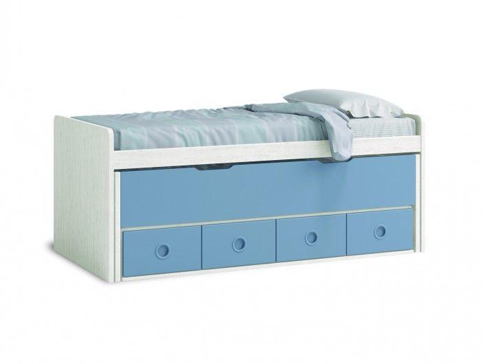 Compacto 2 camas y 4 cajones color ártico-cobalto  merkamueble