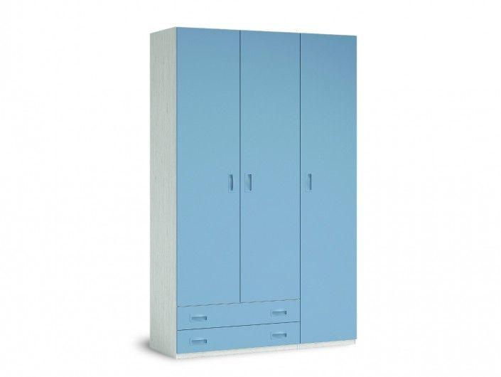 Armario 3 puertas y 2 cajones color ártico-cobalto  merkamueble