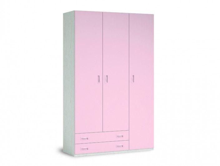 Armario 3 puertas y 2 cajones color ártico-rosa  merkamueble