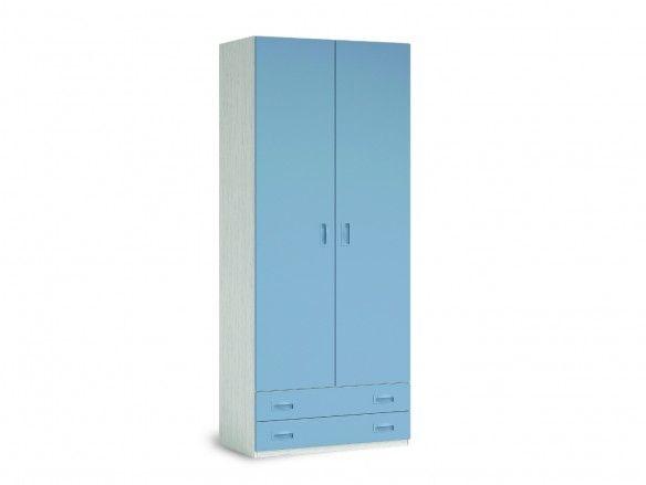 Armario 2 puertas y 2 cajones color ártico-cobalto  merkamueble