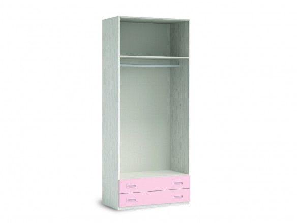Armario 2 puertas y 2 cajones color ártico-rosa  merkamueble