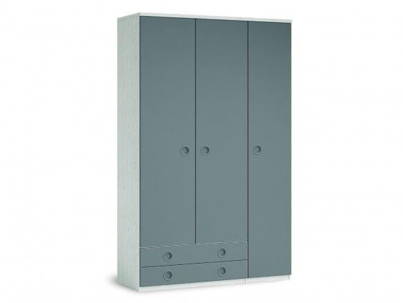 Armario 3 puertas y 2 cajones color ártico-pizarra  merkamueble