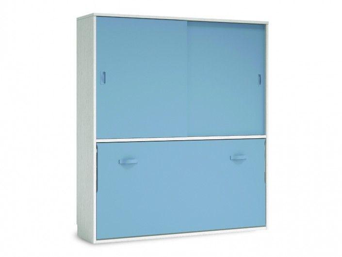 Cama abatible horizontal con armario 2 puertas correderas color ártico-cobalto  merkamueble