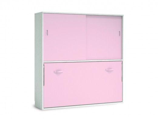 Cama abatible horizontal con armario 2 puertas correderas color ártico-rosa  merkamueble