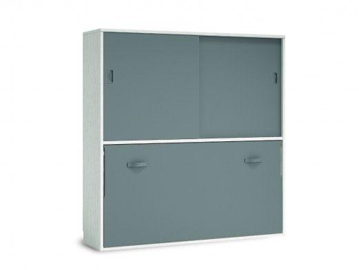 Cama abatible horizontal con armario 2 puertas correderas color ártico-pizarra  merkamueble