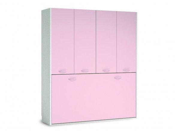 Cama abatible horizontal con armario 4 puertas color ártico-rosa  merkamueble