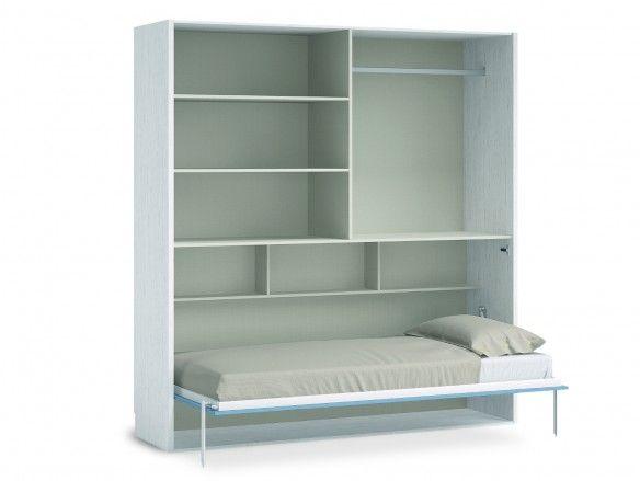 Cama abatible horizontal con armario 4 puertas color ártico-cobalto  merkamueble