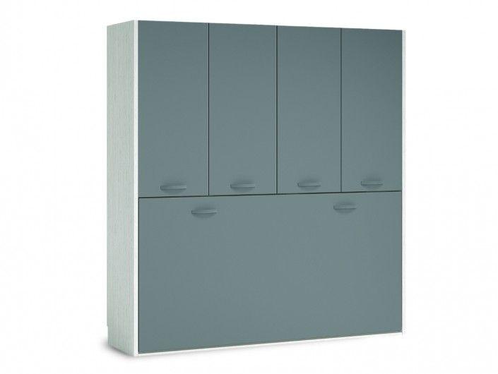 Cama abatible horizontal con armario 4 puertas color ártico-pizarra  merkamueble