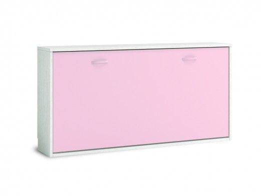 Cama abatible horizontal color ártico-rosa  merkamueble