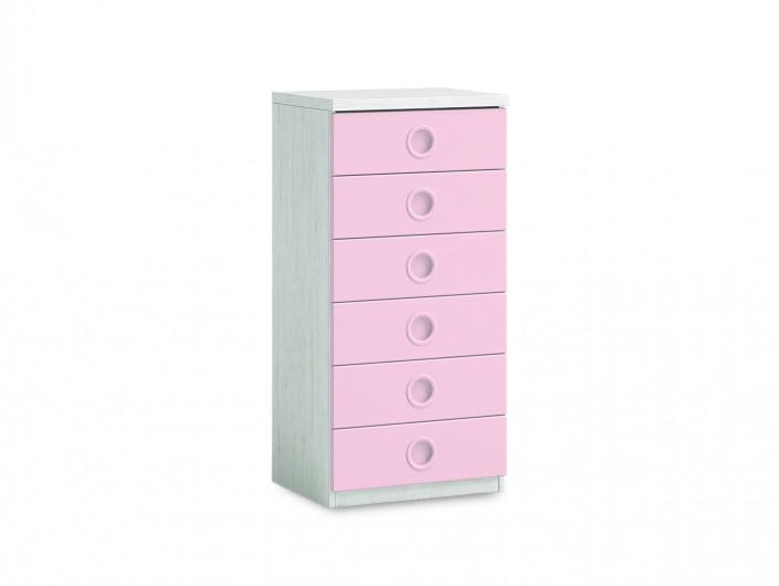 Sinfonier 6 cajones color ártico-rosa  merkamueble